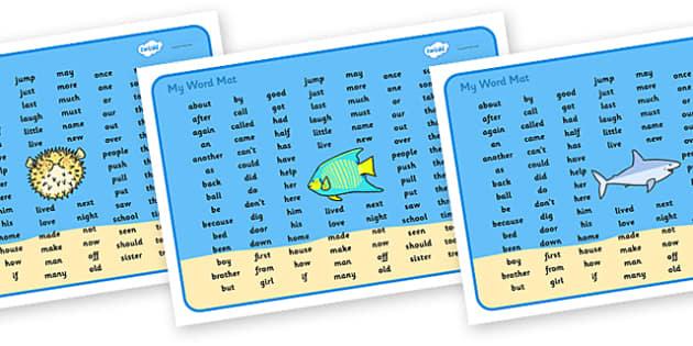 Under the Sea Word Mat KS1 - under the sea, under the sea word mat, under the sea ks2 word mat, under the sea high frequency words, high frequency words