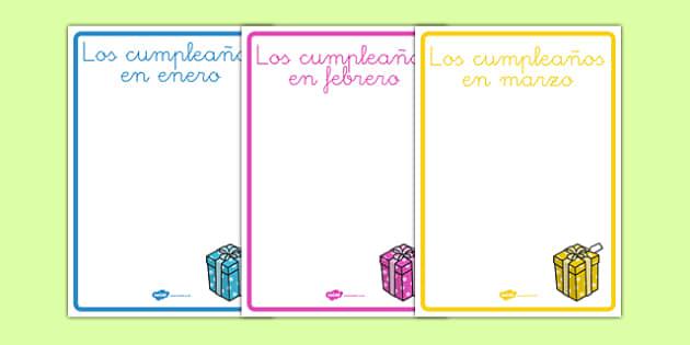 Pósters de exposición editables de cumpleaños - decoración, calendario, meses, año, fiesta