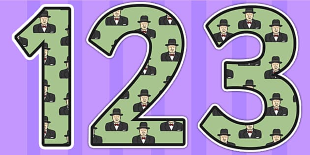Winston Churchill Themed Display Numbers - winston churchill, display numbers, themed number, classroom number, numbers for display, number, numbers displa