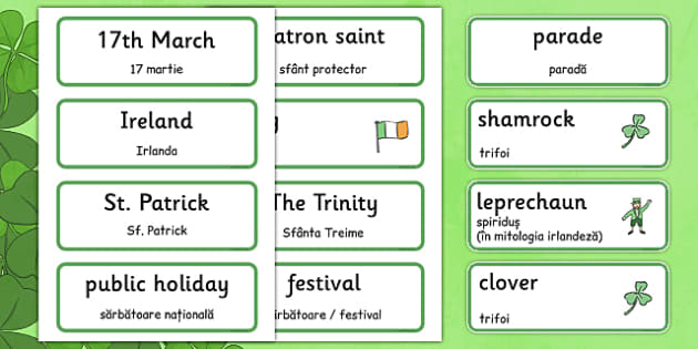 St Patrick's Day Topic Word Cards Romanian Translation - romanian, Word cards, St Patricks Day, Word Card, flashcard, flashcards, Ireland, Irish, St Patrick, patron saint, leprechaun, 17 march