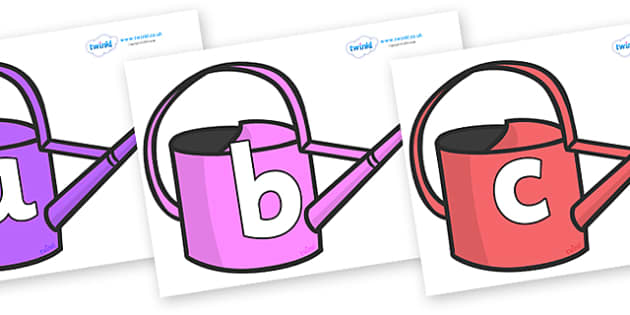 Phoneme Set on Watering Cans - Phoneme set, phonemes, phoneme, Letters and Sounds, DfES, display, Phase 1, Phase 2, Phase 3, Phase 5, Foundation, Literacy