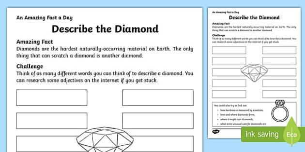 Describe the Diamond Activity Sheet, worksheet