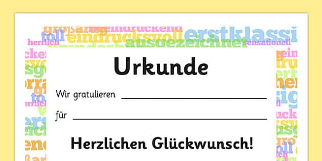 Urkunde English Award Certificate German - german, English Award Certificate, English, language, certificates, award, well done, reward, medal, rewards, school, general, certificate, achievement, England, skills, language skills