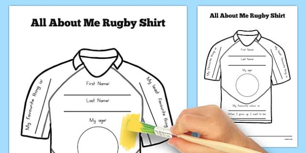 All About Me Rugby Shirt Worksheet - australia, rugby, worksheet