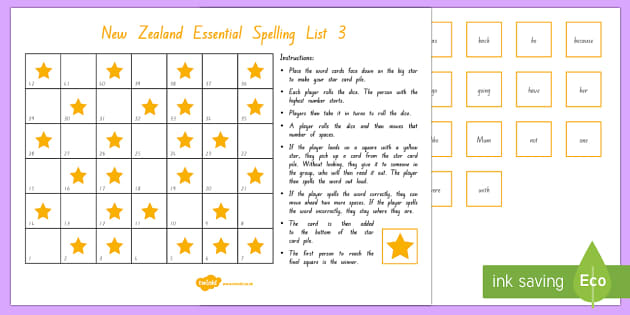 New Zealand Essential Spelling List 3 Board Game - Literacy, List 3, spelling, Essential Spelling