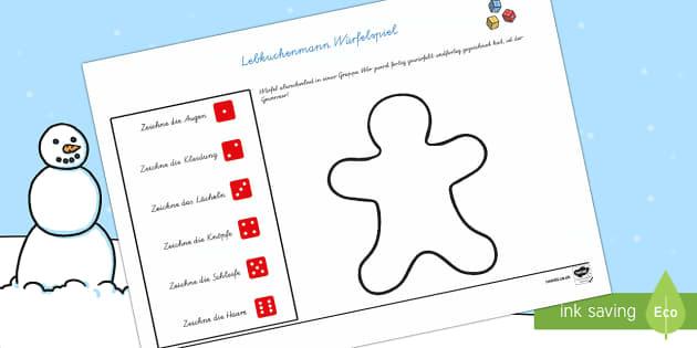 Weihnachten: Lebkuchenmann Würfel Spiel