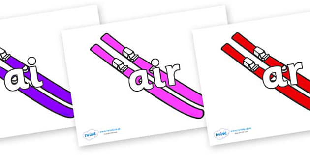 Phase 3 Phonemes on Skis - Phonemes, phoneme, Phase 3, Phase three, Foundation, Literacy, Letters and Sounds, DfES, display