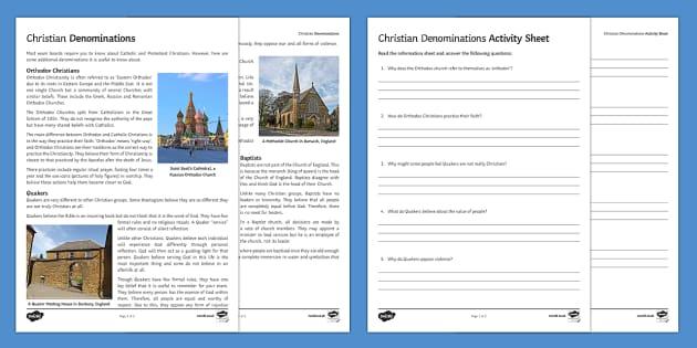 Different Christian Denomination Activity Sheet - quake, orthodox Christians, methodists, baptists, denominations, christianity, christian denominatio