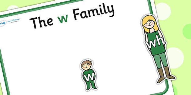 W Sound Family Cut Outs - sound families, sounds, cutouts, cut