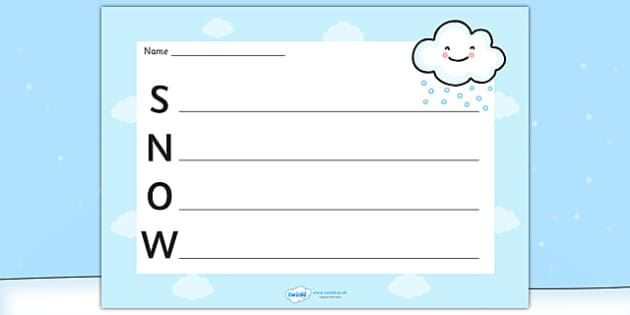 Snow Acrostic Poem Template - snow acrostic poem, weather acrostic poems, weather and seasons, snow acrostic template, snow poem template, snow, weather