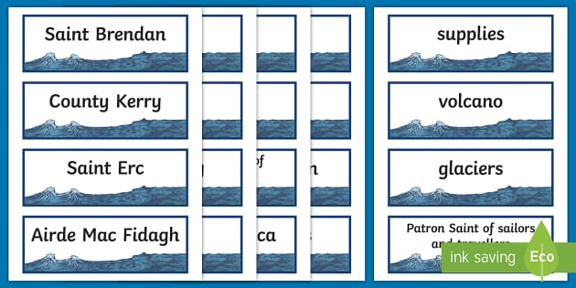 Saint Brendan the Navigator Word Cards-Irish - Ireland, The Land of Saints and Scholars,early christian Ireland,Irish saints, monastic Ireland, st.