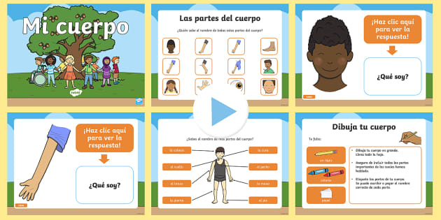 Mi cuerpo PowerPoint - Mi cuerpo, proyecto, conocimiento de mí mismo, las partes, juego, vocabuario, ,Spanish