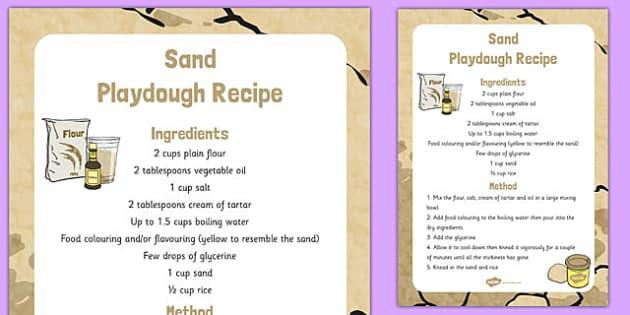 Sand Playdough Recipe - sand, playdough, recipe, eyfs, instructions