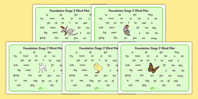 Spring Themed Foundation Stage 2 Word Mat - spring, FS2, word mat