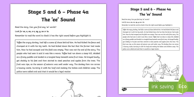 Northern Ireland Linguistic Phonics Stage 5 and 6 Phase 4a 'ee' Activity Sheet  - Ni, Worksheet, sound search, text