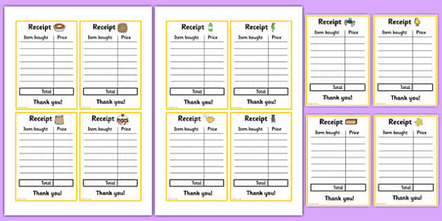 Nursery Rhyme Shop Role Play Receipts - nursery rhyme shop, nursery rhyme, rhyme, receipts