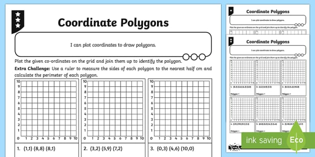 Coordinate Polygons Differentiated Activity Sheets - Position, direction, coordinates, Describe positions on a 2D grid as coordinates in the first quadra