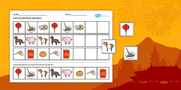 Completează șirurile cu simboluri ale Anului Nou Chinezesc - Fișă pentru activitate diferențiată