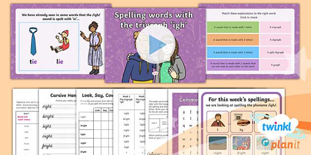 PlanIt Y1 Term 2A W1: 'igh' Spelling Pack - Spelling Packs Y1, Term 2A, Week 1, igh