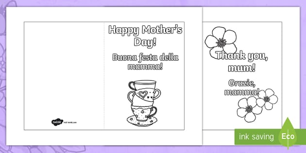 Mothers Day Card Templates Colouring EnglishItalian – Mothers Day Card Template