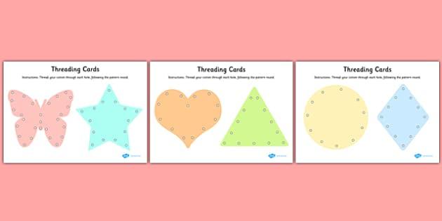 Fine Motor Skills Threading Cards - motor skill, activities, card