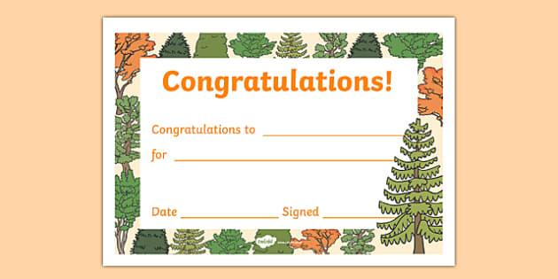 Tree Themed Editable Certificate - tree, editable, certificates, award, reward, praise