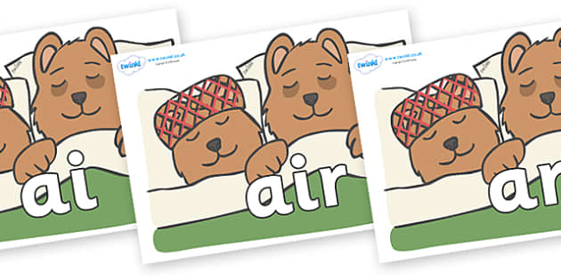 Phase 3 Phonemes on Mummy & Daddy Bear - Phonemes, phoneme, Phase 3, Phase three, Foundation, Literacy, Letters and Sounds, DfES, display