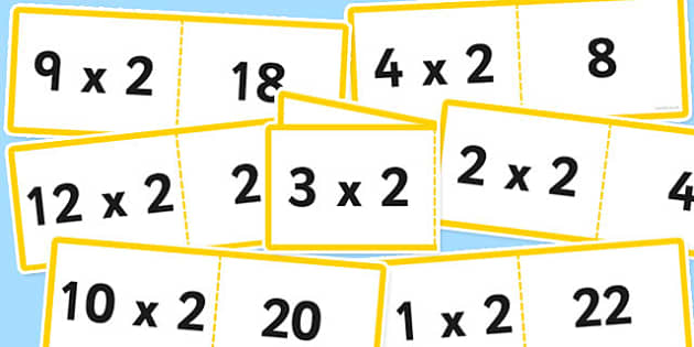 2 Times Table Cards - times table, cards, 2, fold, activity, times tables