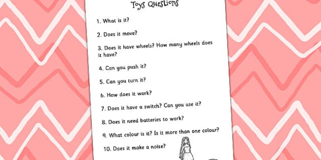 Toy Interest Table Accompanying Questions - toys, writing prompt
