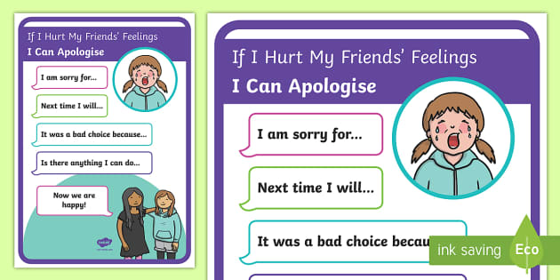 If I hurt my friends' feelings... Display Poster - New Zealand Class Management, sorry, apologies, hurt feelings