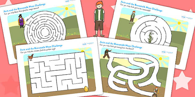 Jack and the Beanstalk Differentiated Maze Activity Sheet Pack, worksheet