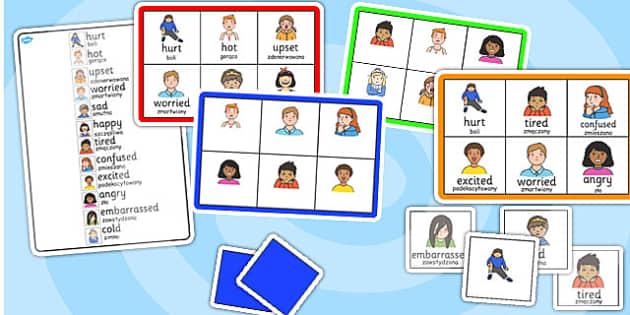 Feelings Bingo Polish Translation - polish, feelings, bingo, game