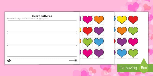 Repeating Heart Patterns Activity Sheet - Canada Valentines Day, patterns, math, repeating pattern, worksheet