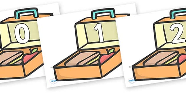 Numbers 0-50 on Lunch Boxes - 0-50, foundation stage numeracy, Number recognition, Number flashcards, counting, number frieze, Display numbers, number posters