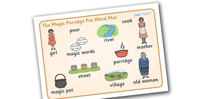 The Magic Porridge Pot Word Mat - magic, porridge, pot, little girl, lady, magic pot, word mat, writing aid, mat, cook, magic words