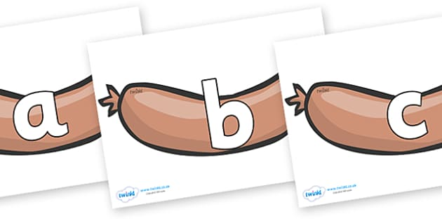 Phoneme Set on Sausages to Support Teaching on The Very Hungry Caterpillar - Phoneme set, phonemes, phoneme, Letters and Sounds, DfES, display, Phase 1, Phase 2, Phase 3, Phase 5, Foundation, Literacy