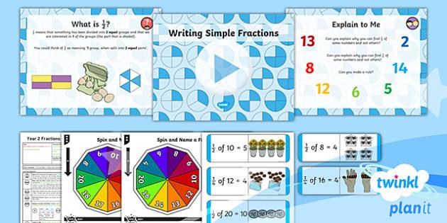 PlanIt Y2 Fractions Lesson Pack - Fractions, write a fraction, dominoes, game, 1/2, 1/4, half, halves, quarter, divide, share, split