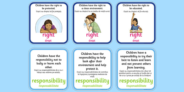 Matching Pairs of Rights and Responsibilities Activity Romanian Translation - romanian, CfE, Health and Wellbeing, PSHE, Rights Respecting Schools, UN Charter Rights of the Child, Children's Rights, Responsibilities