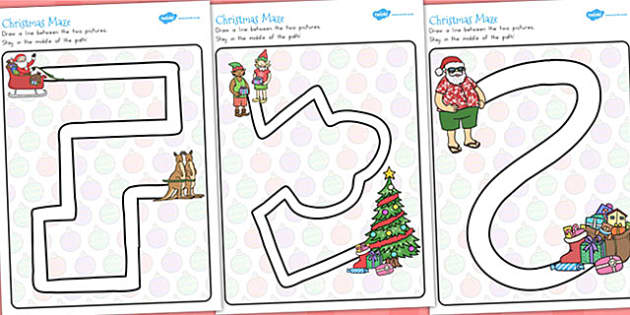 Christmas Pencil Control Path Worksheets - festivities, motor