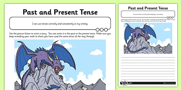 Past and Present Tense Application Activity Sheet - GPS, spelling, grammar, verbs, tenses, past, present, worksheet