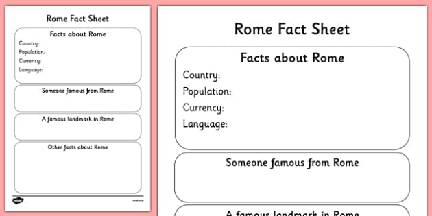 Rome Factsheet Writing Template - rome, rome fact sheet, rome fact file, rome worksheet, facts about rome, italian capital, capital cities, ks2 geography