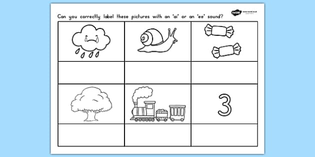 AI or EE Sound Worksheet - sounds, sound production, literacy