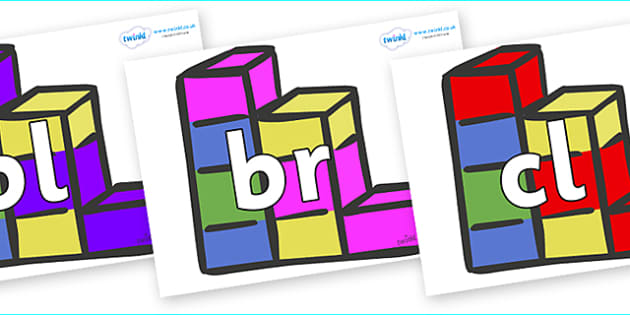 Initial Letter Blends on Building Bricks - Initial Letters, initial letter, letter blend, letter blends, consonant, consonants, digraph, trigraph, literacy, alphabet, letters, foundation stage literacy