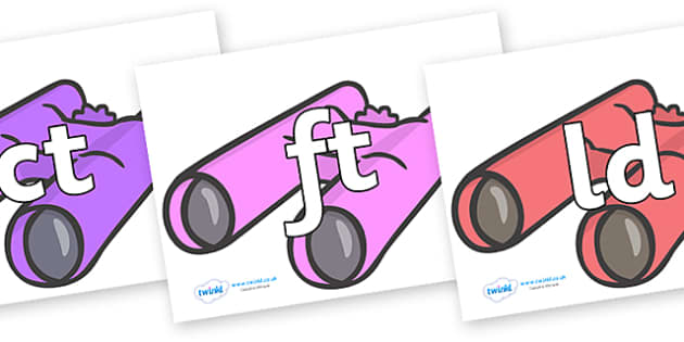 Final Letter Blends on Binoculars - Final Letters, final letter, letter blend, letter blends, consonant, consonants, digraph, trigraph, literacy, alphabet, letters, foundation stage literacy