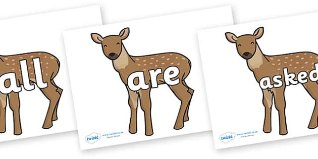 Tricky Words on Fawns - Tricky words, DfES Letters and Sounds, Letters and sounds, display, words