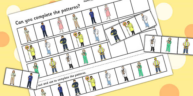 People Who Help Us Differentiated Complete The Pattern Worksheets