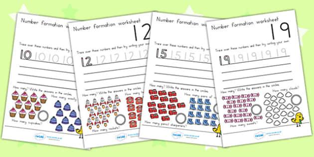 Number Formation Worksheets 10 20 - number forming, motor skills