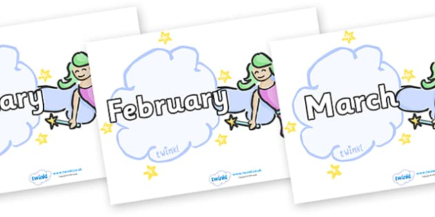 Months of the Year on Fairies (Plain) - Months of the Year, Months poster, Months display, display, poster, frieze, Months, month, January, February, March, April, May, June, July, August, September