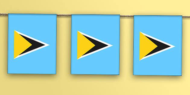 St Lucia Flag Bunting - st lucia flag, st lucia, flag, bunting, display bunting, display