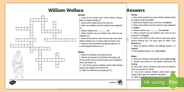William Wallace Crossword - CfE Scottish Significant Individuals, William Wallace, crossword, William Wallace crossword, Scottis